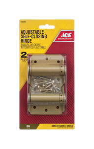 Ace  3 in. L Enamel Brass  Screen/Storm Self Closing Hinge  2 pk