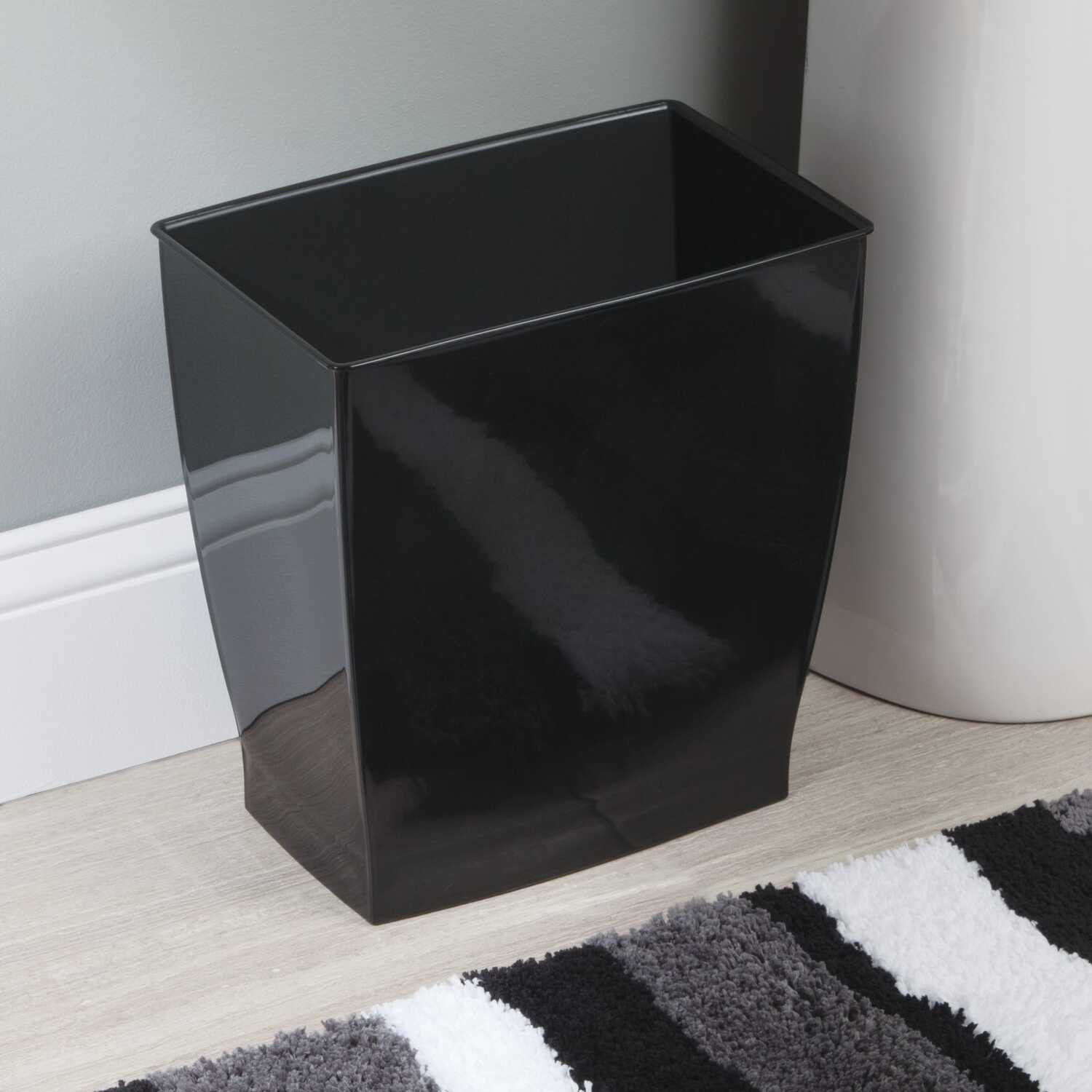 InterDesign  Mono  Black  Rectangular  Wastebasket