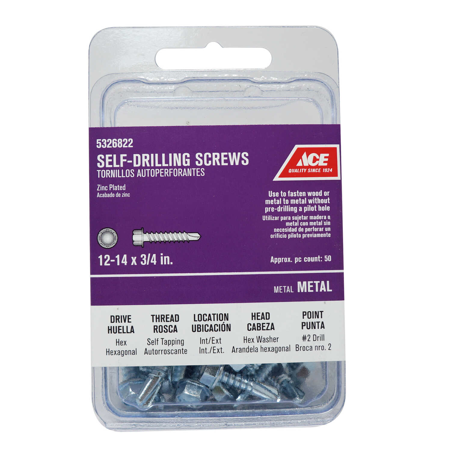 Ace  12 Sizes  x 3/4 in. L Zinc-Plated  Hex Washer Head Self- Drilling Screws  Hex  Steel