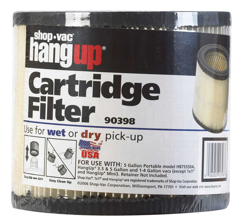Shop-Vac  6.1 in. L x 6.1 in. W Cartridge Filter  5 gal. White  1 pk