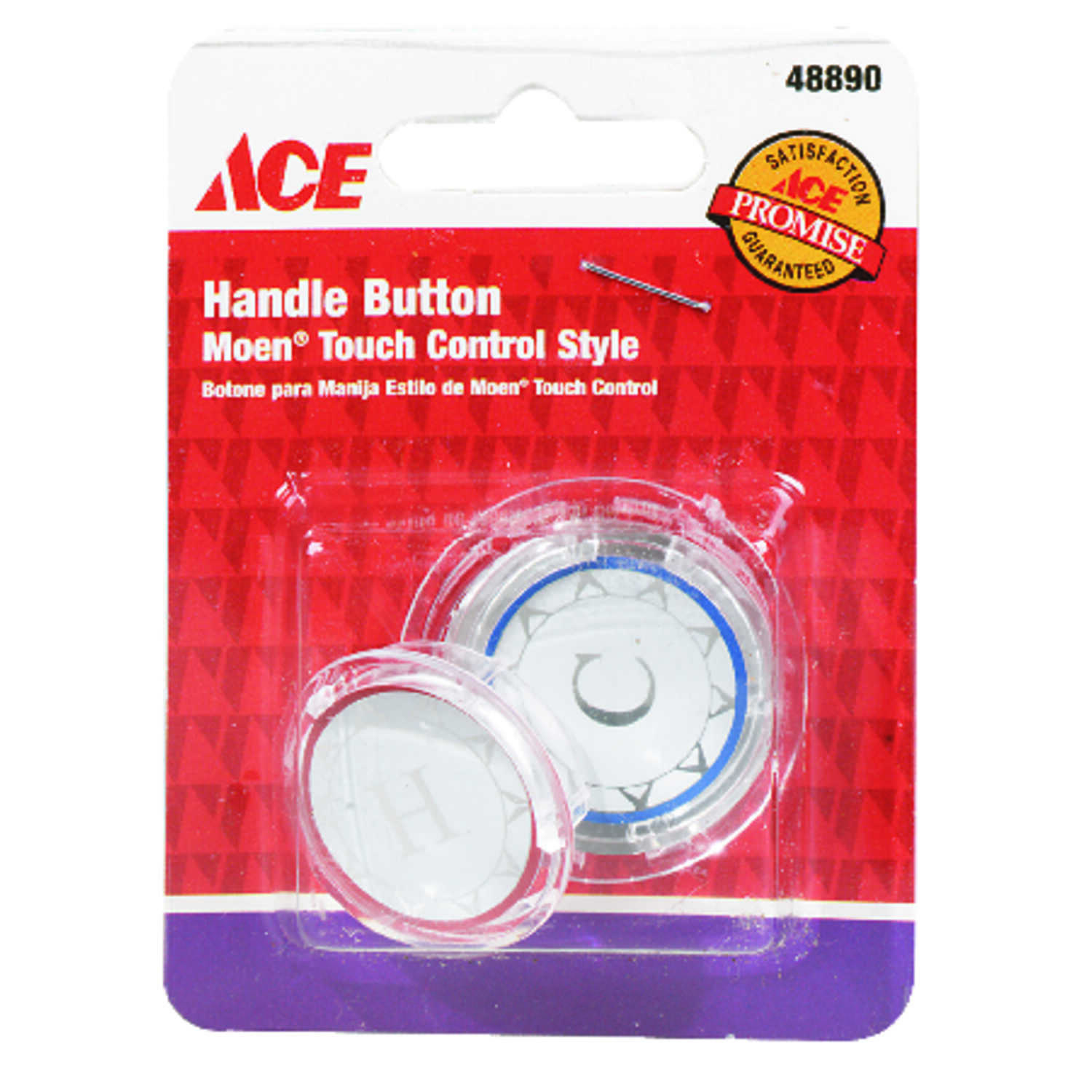 Ace  Snap-in  Clear  Acrylic  Hot and Cold  Index Button  For Most Moen Single Lever Handles