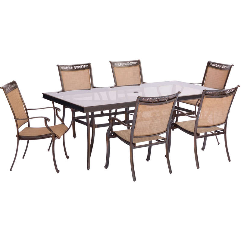 Hanover  7 pc. Brown  Aluminum  Dining Patio Set