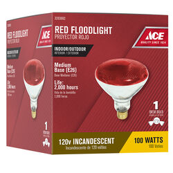 Ace  100 watt PAR38  Floodlight  Incandescent Bulb  E26 (Medium)  Red  1 pk