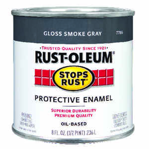 Rust-Oleum  Stops Rust  Indoor and Outdoor  Gloss  Smoke Gray  Protective Enamel  0.5 pt.