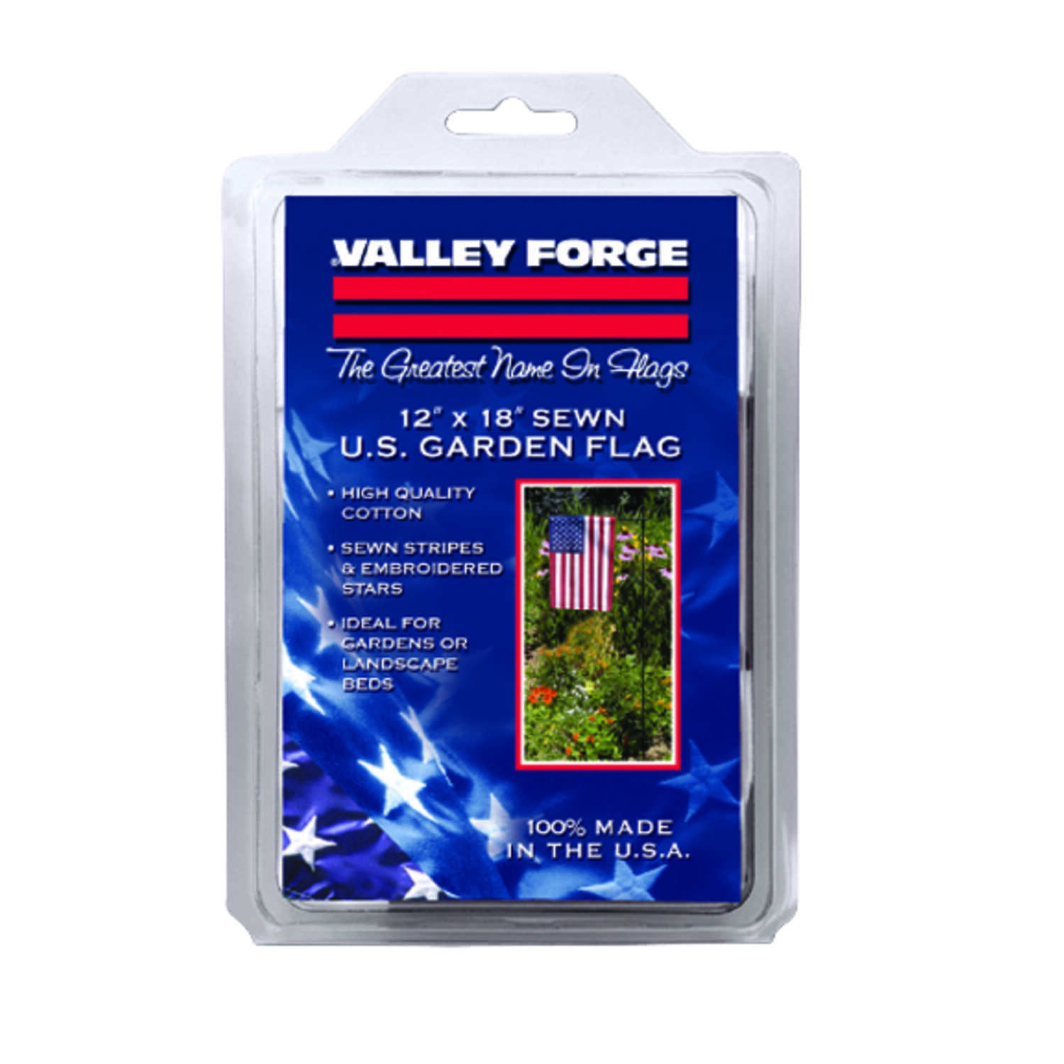 Valley Forge  American  Garden Flag  12 in. H x 18 in. W