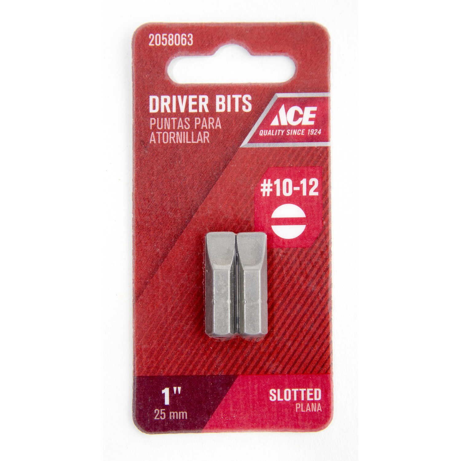 Ace  #10-12   x 1 in. L Insert Bit  Slotted  2 pc. 1/4 in. S2 Tool Steel  Hex Shank