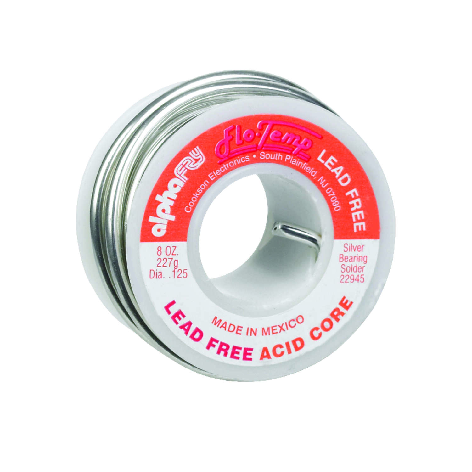 Alpha Fry 8 oz. Lead-Free Acid Core Wire Solder 0.125 in. Dia. Silver Bearing 1 pc.