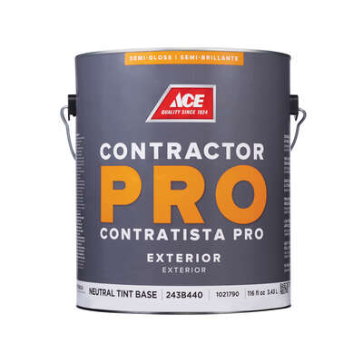 Ace  Contractor Pro  Semi-Gloss  Tint Base  Neutral Base  Paint  Exterior  1 gal.