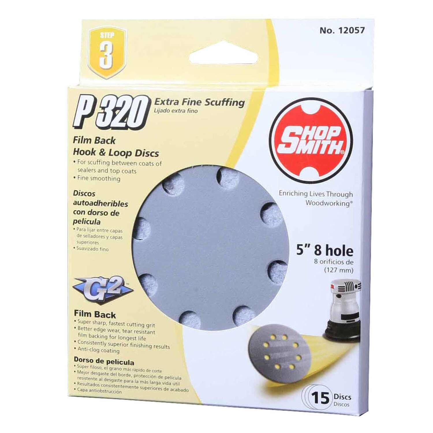 Shopsmith  5 in. Aluminum Oxide  Hook and Loop  Sanding Disc  320 Grit Extra Fine  15 pk