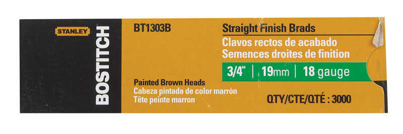 Stanley Bostitch  18 Ga. Smooth Shank  Straight Strip  Brad Nails  3/4 in. L x 0.1 in. Dia. 3,000 pc