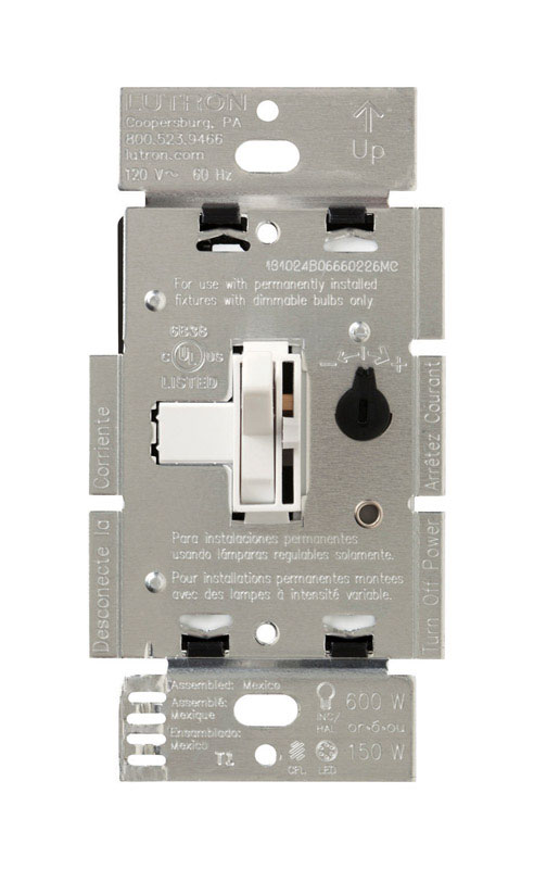 Lutron  Toggler  150 watts White  Dimmer Switch  3-Way