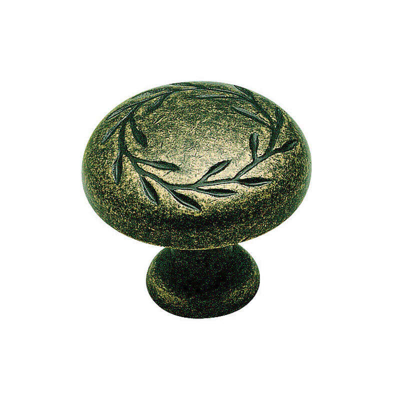 Amerock Natures Splendor Round Cabinet Knob 1-5/16 in. Dia. 1-1/16 in. Weathered Brass 1 pk