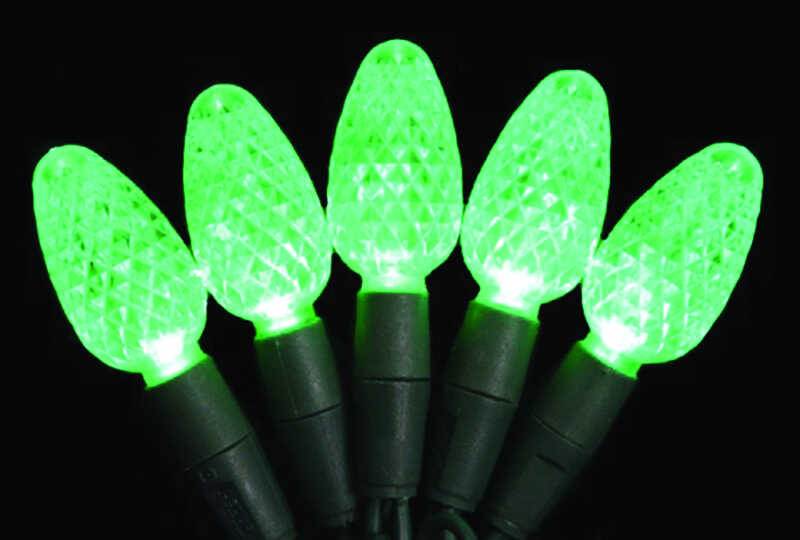 Celebrations  Platinum  LED  C6  Light Set On A Reel  Green  24.5 ft. 50 lights