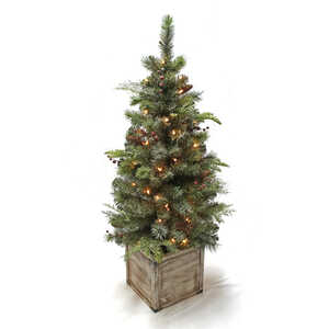 Celebrations  Woodland Porch  Clear  Prelit 4 ft. Christmas  Porch Tree  50 lights 152 tips