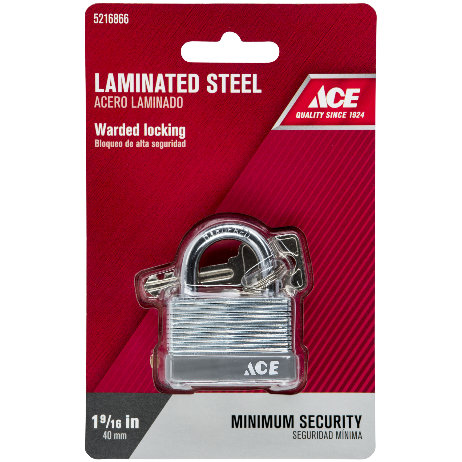 Ace  1-1/2 in. W x 1 in. H Warded Locking  Laminated Steel  Padlock  1 pk