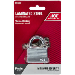 Ace  1 in. H x 1-9/16 in. W x 7/8 in. L Laminated Steel  Warded Locking  Padlock  1 pk