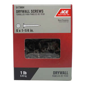 Ace  No. 6   x 1-1/4 in. L Phillips  Bugle Head Black Phosphate  Steel  Drywall Screws  1 lb. 288 pk