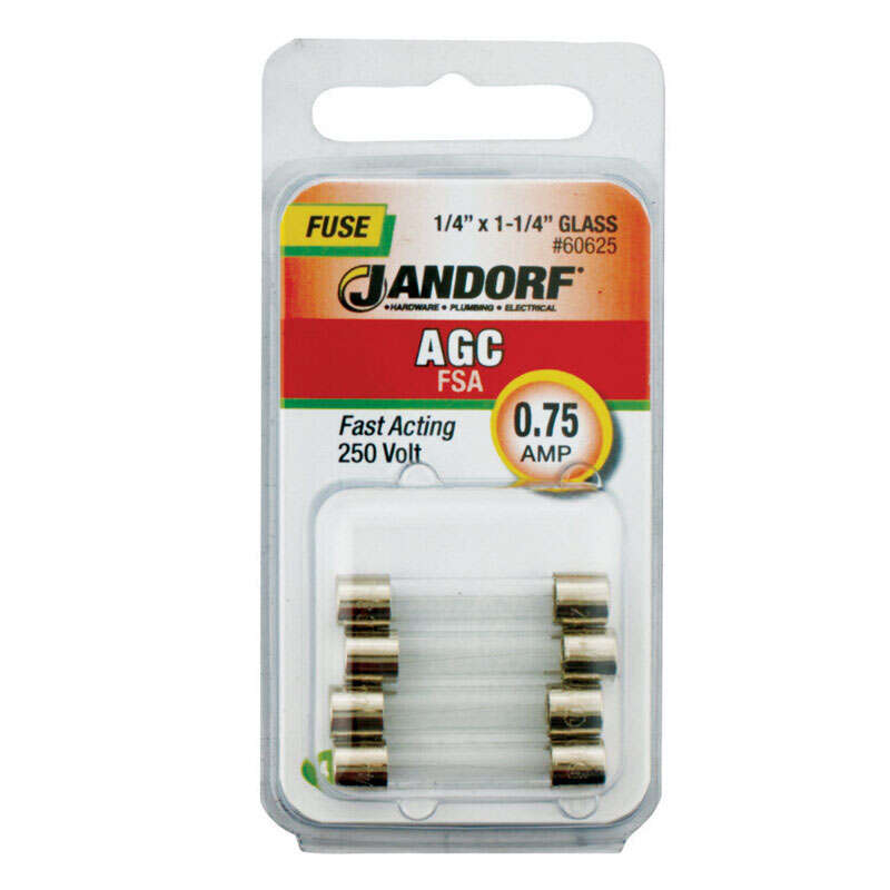 Jandorf  AGC  0.75 amps 250 volts Glass  Fast Acting Fuse  4 pk