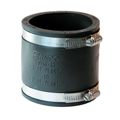 Fernco Schedule 40 3 in. Hub x 3 in. Dia. Hub PVC Flexible Coupling