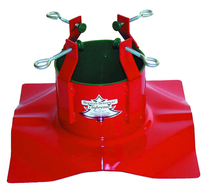 Christmas Mountains  Steel  Red  Christmas Tree Stand  10 ft. Maximum Tree Height