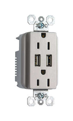 Pass & Seymour 15 amps 125 volt Silver Outlet and USB Charger 5-15R 1 pk