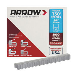 Arrow Fastener  T50  3/8 in. W x 3/8 in. L 18 Ga. Flat Crown  Heavy Duty Staples  5000 pk