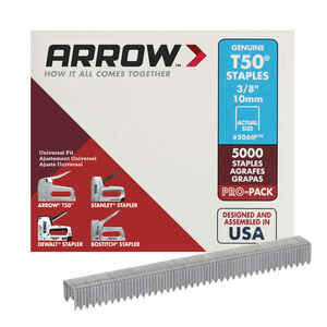 Arrow Fastener  T50  3/8 in. L x 3/8 in. W Flat Crown  Heavy Duty Staples  5000 pk