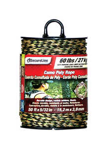 SecureLine  50 ft. L x 5/32 in. Dia. Camouflage  Poly  Rope  Braided