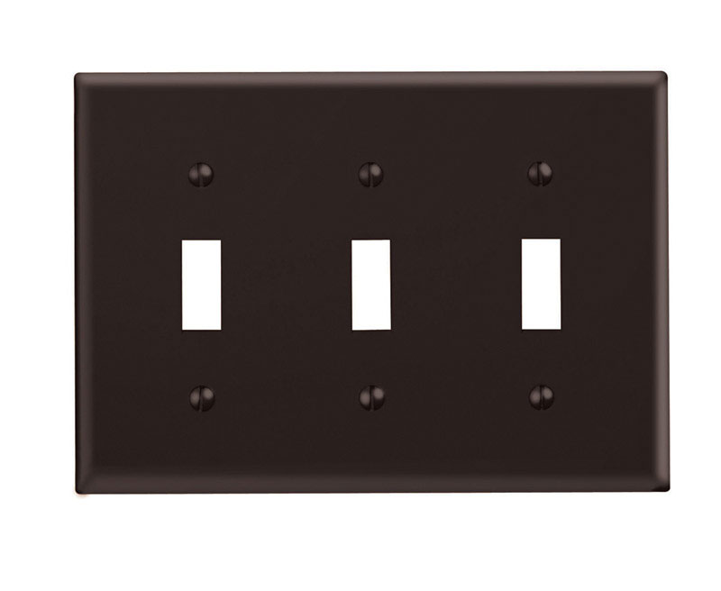Leviton  Brown  3 gang Plastic  Toggle  Wall Plate  1 pk
