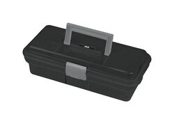 Ace  12 in. Plastic  One Latch Tool Box  9.25 in. W x 4 in. H Black