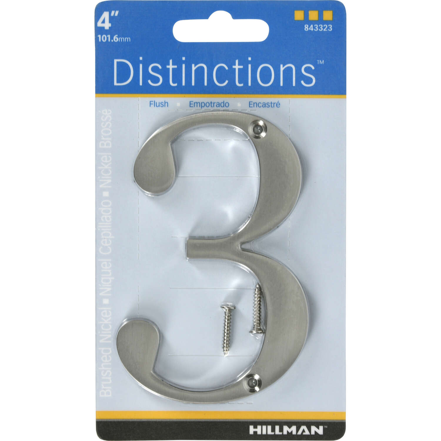 Hillman  Distinctions  4 in. Silver  Brushed Nickel  Screw-On  Number  3  1 pc.