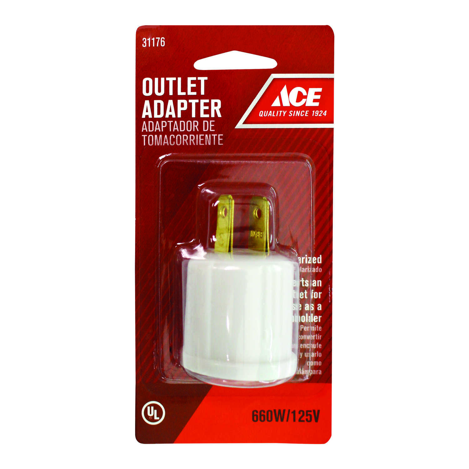 Ace  Polarized  1 outlets Outlet To Keyless Socket  1 pk