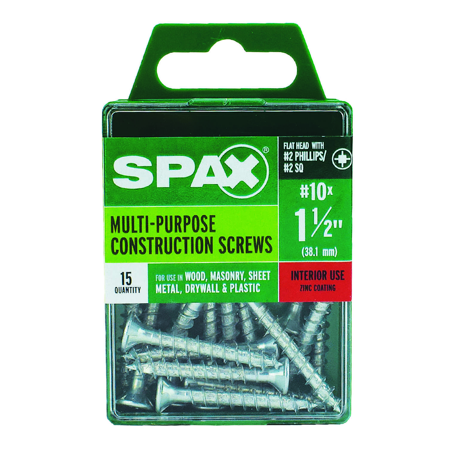 SPAX  No. 10   x 1-1/2 in. L Phillips/Square  Flat  Zinc-Plated  Steel  Multi-Purpose Screw  15 each