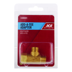 Ace Add A Tee 3/8 in. Female Compression Swivel x 3/8 in. Dia. Male Compression Brass Adapter