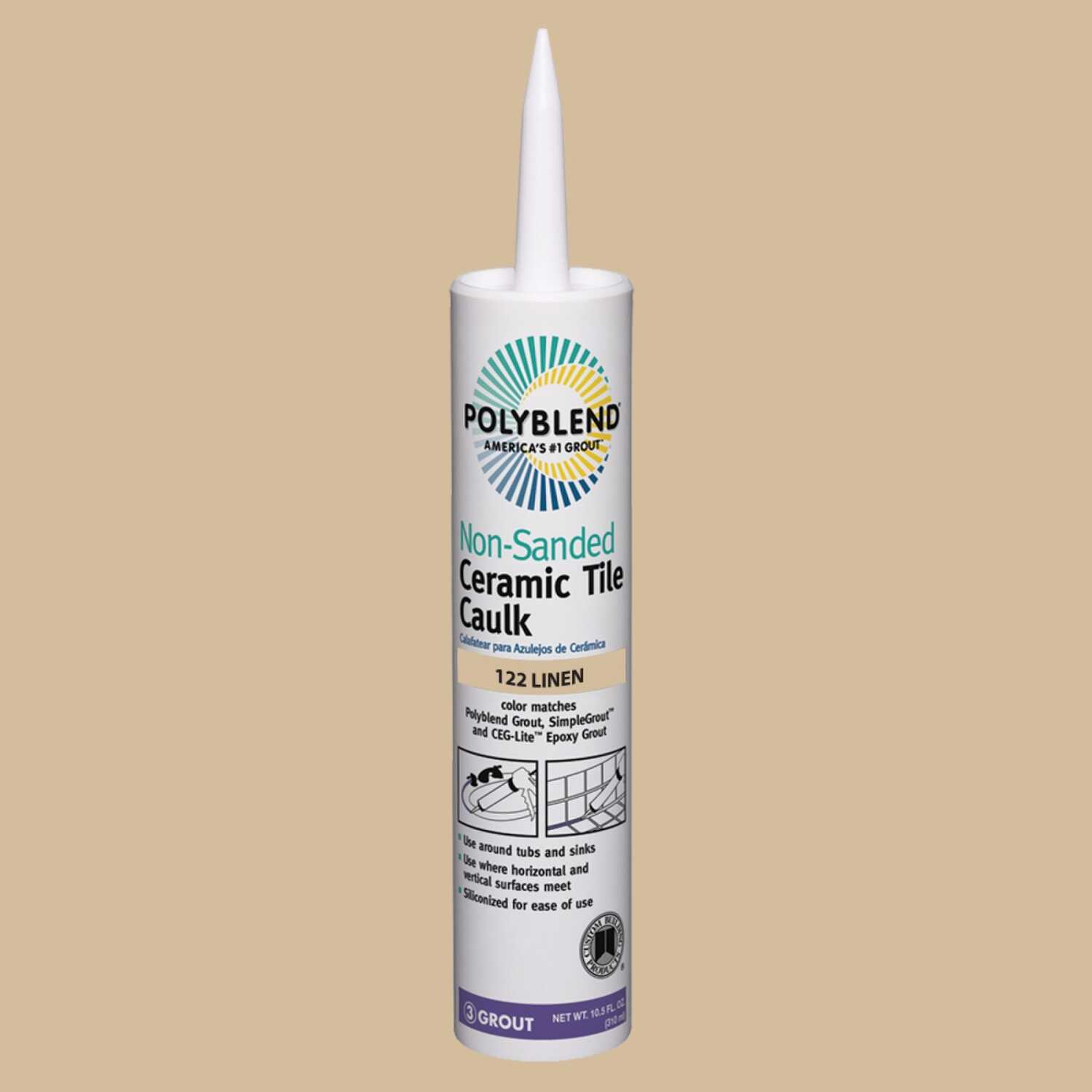 Custom Building Products  Polyblend  Linen  Siliconized Acrylic  Caulk  10.5 oz.