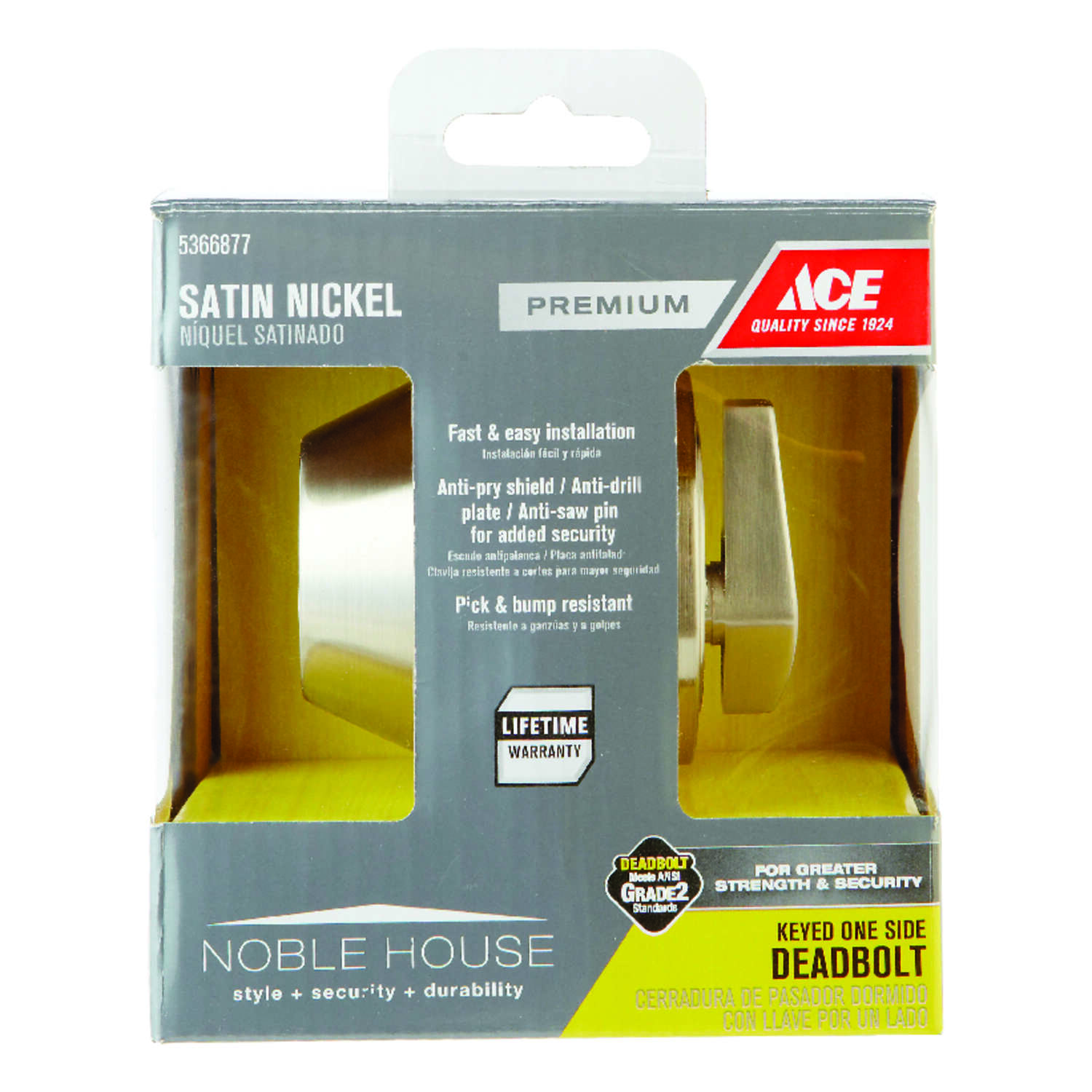 Ace  Satin Nickel  Metal  Single Cylinder Deadbolt