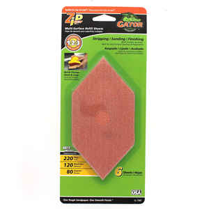 Gator  Zip  6 in. L x 3 in. W 80/120/220 Grit Assorted  Aluminum Oxide  Sanding Sheet  6 pk