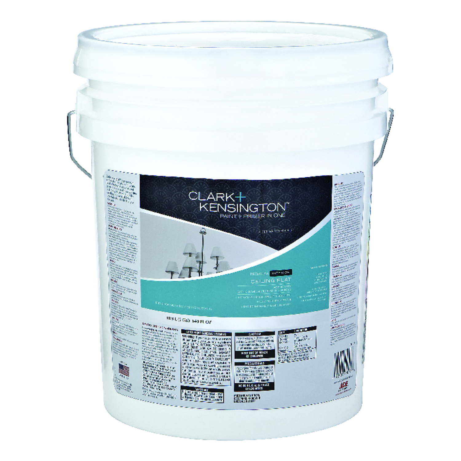 Clark Kensington  Ace  White  Acrylic Latex  Ceiling Paint and Primer in One  5 gal. Flat