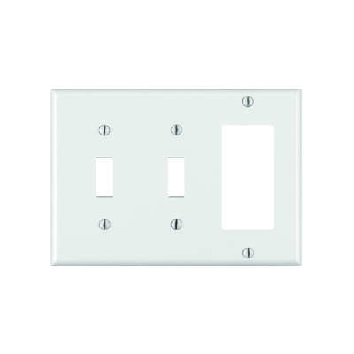 Leviton  White  3 gang Thermoset Plastic  GFCI/Rocker/Toggle  Wall Plate  1 pk