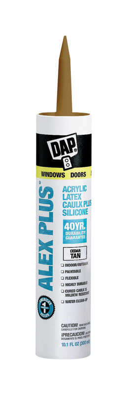 Dap  Alex Plus  Cedar Tan  Acrylic Latex  Caulk  10.1 oz.