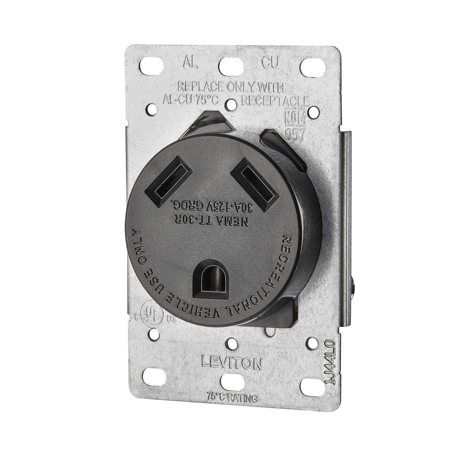 Leviton  30 amps 125 volt Black  Outlet  TT-30R  1 pk