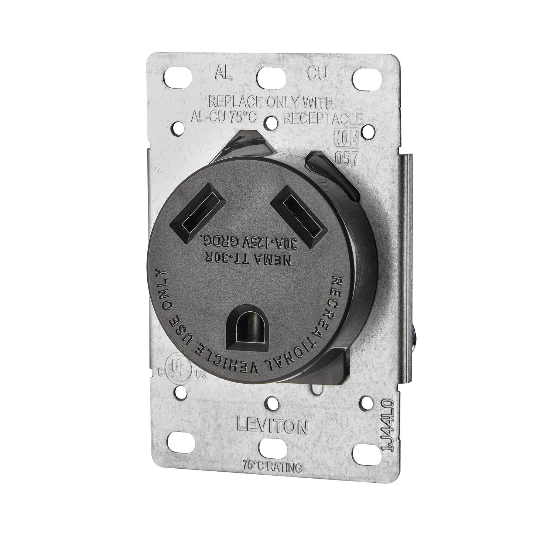 Leviton 30 Amps 125 Volt Black Outlet Tt-30r 1 Pk