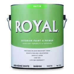 Royal  Satin  High Hiding White  Acrylic Latex  Paint and Primer in One  Outdoor  1 gal.