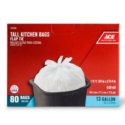 Ace 13 gal. Tall Kitchen Bags Flap Tie 80 pk