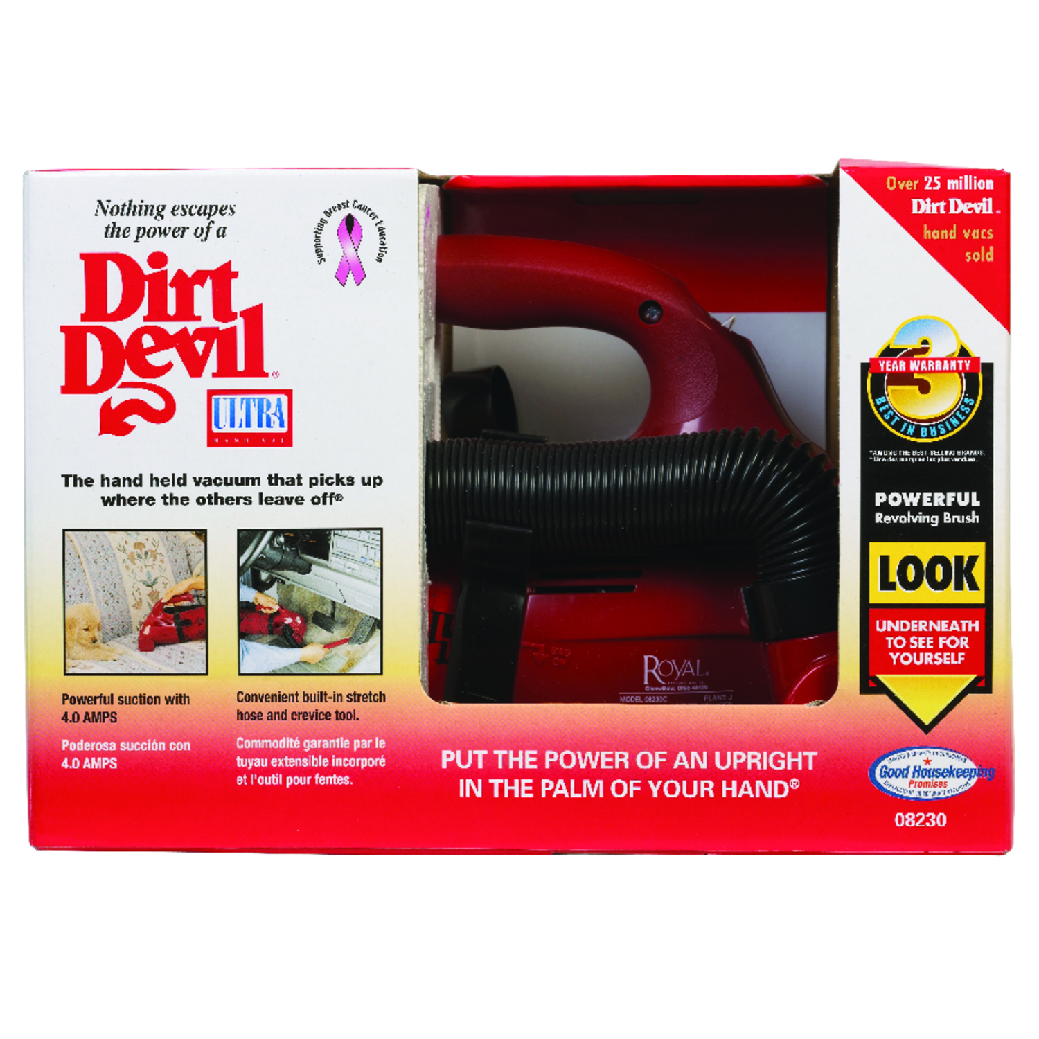 Dirt Devil  Ultra  Bagged  Pet Vacuum  4 amps Standard  Red