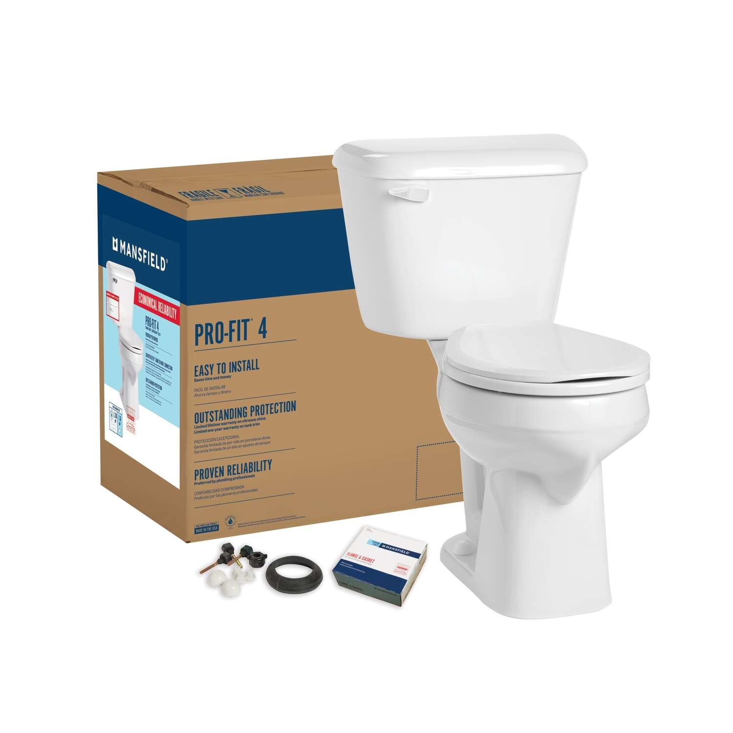 Mansfield  Pro-Fit 4  ADA Compliant 1.28 gal. White  Round  Complete Toilet