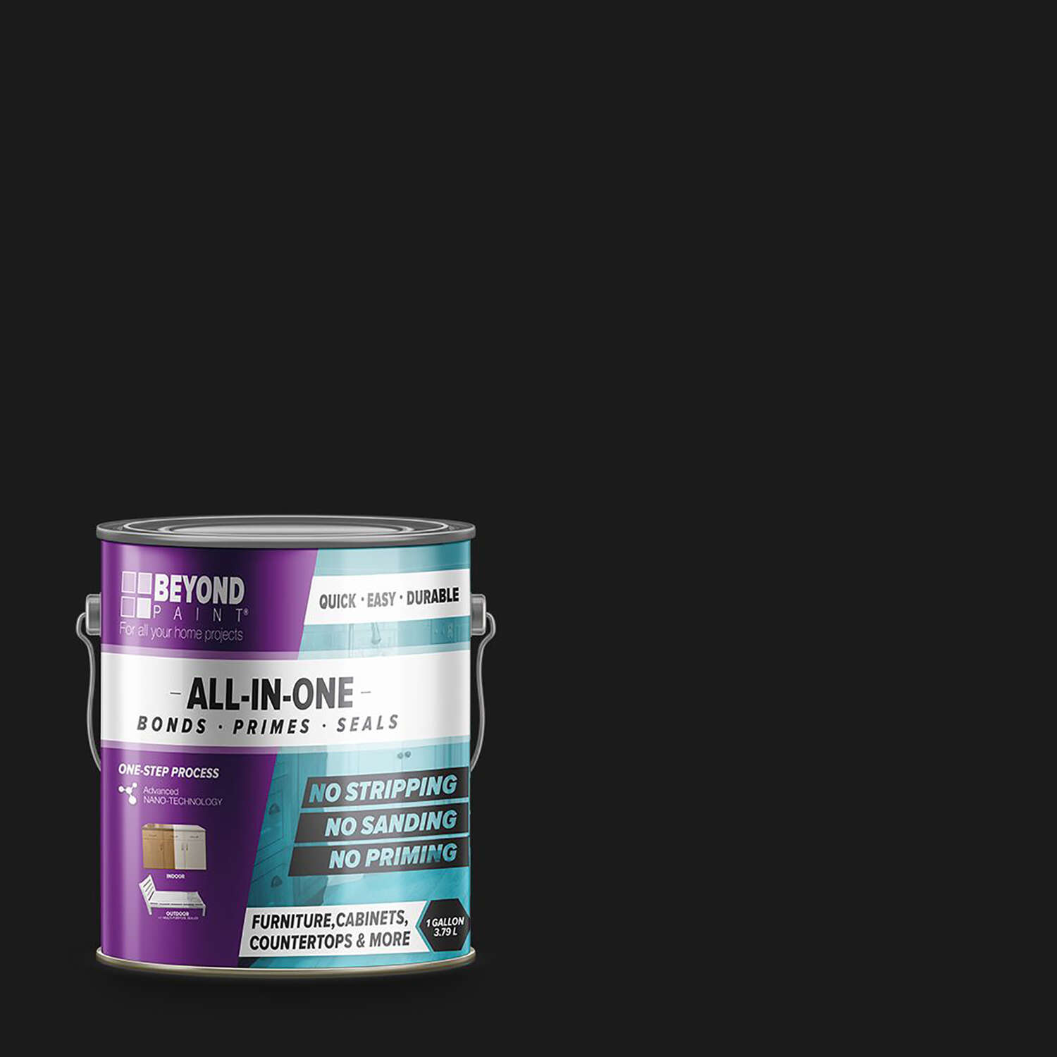 BEYOND PAINT  Matte  Licorice  Water-Based  Acrylic  All-In-One Paint  Indoor and Outdoor  1 gal.