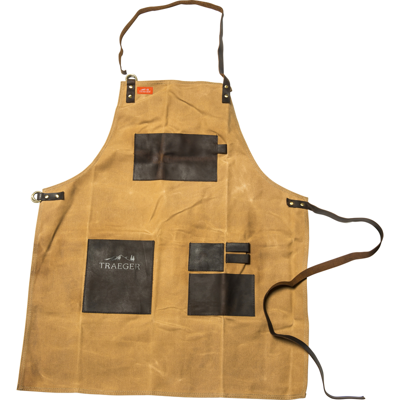 Traeger  Canvas/Leather  Solid  Apron  Brown
