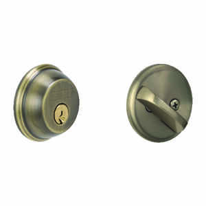 Schlage  Antique Brass  Zinc  Single Cylinder Deadbolt