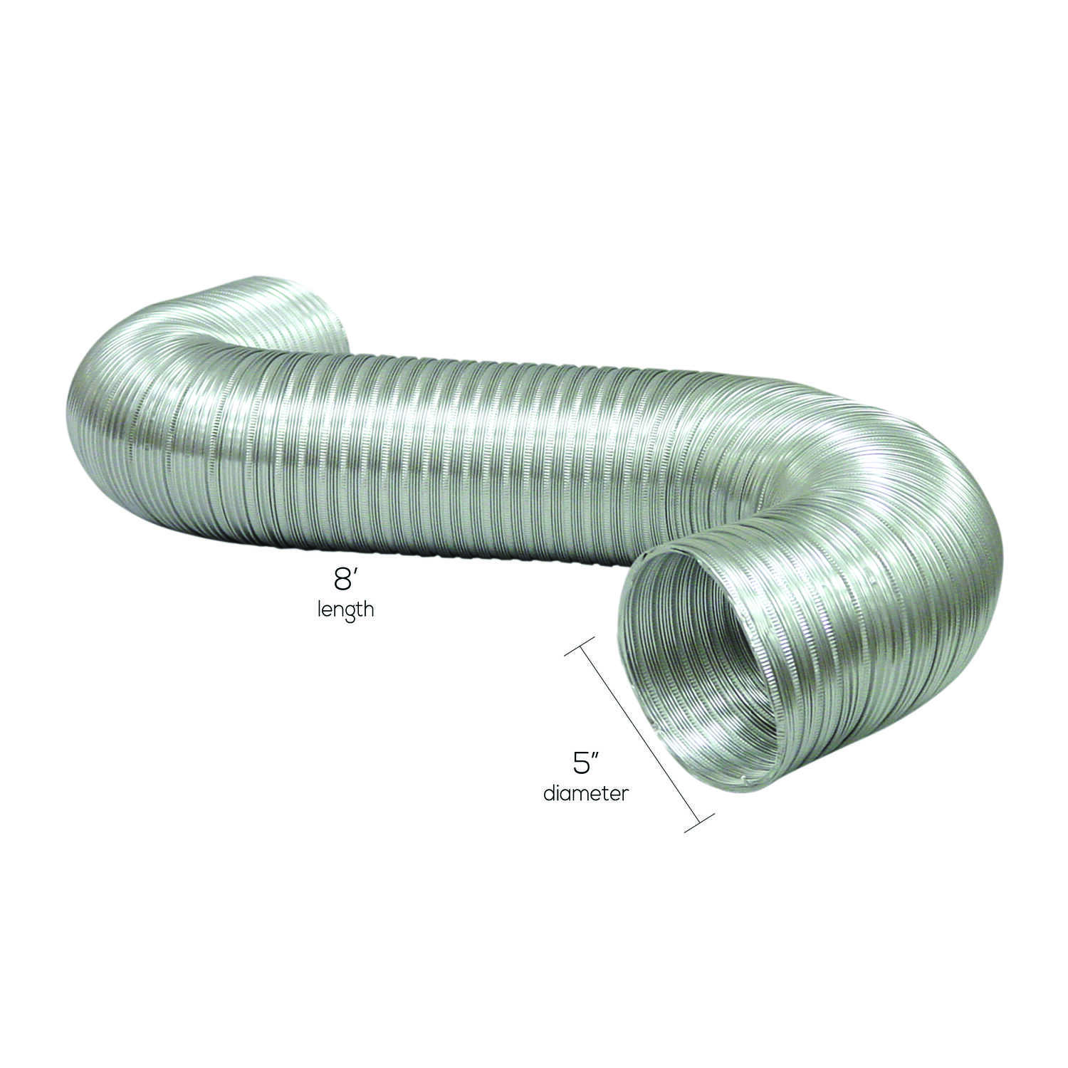 Deflect-O  Jordan  19 in. L x 7 in. Dia. Black/Silver  Aluminum  Dryer and Vent Hose